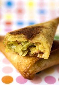 Brick au thon : feuille de brick thon poireau, recette de brick thon poireau - Recette brick, filo, galette de riz - cuisine emballée : papillote, feuilété wrap...