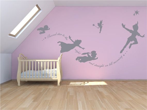 Peter Pan Wall decal, sticker custom mural, second star to the right. Fantasy fairytale magic tinkerbell, nursery, pixiedust $51.61