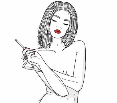 girl smoking drawing - Google Search