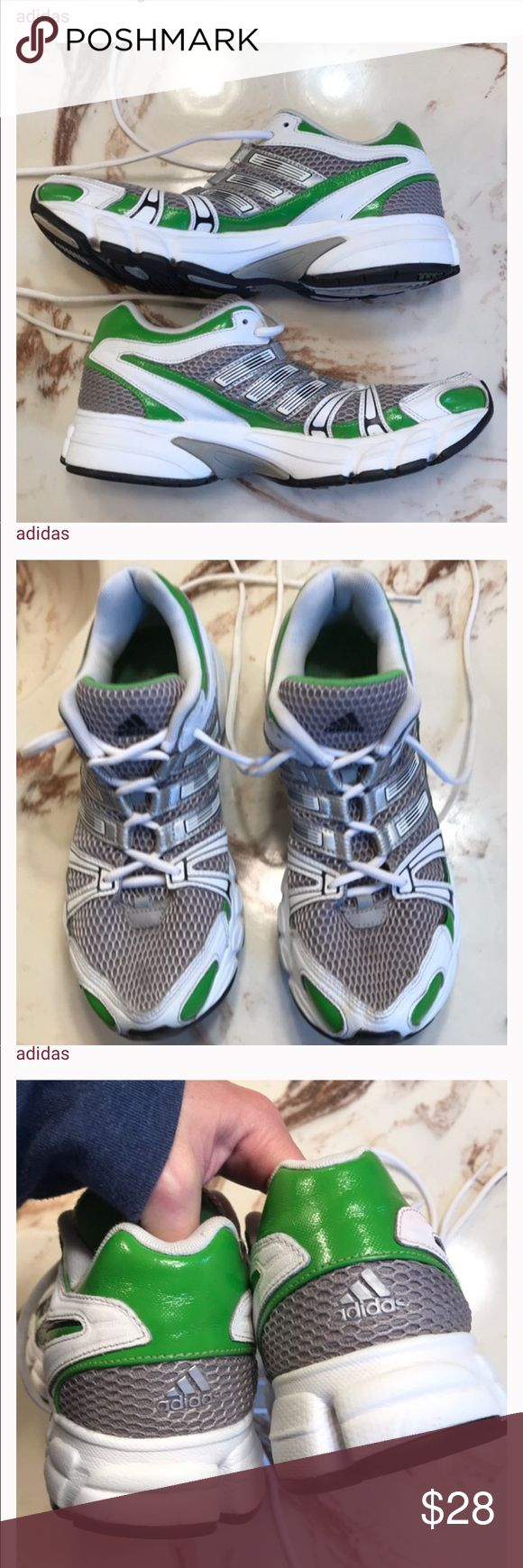 Lime green Adidas tennis shoes! Fabulous condition! No flaws, except creasing from wear.  Thx 4 browsing! adidas Shoes Athletic Shoes