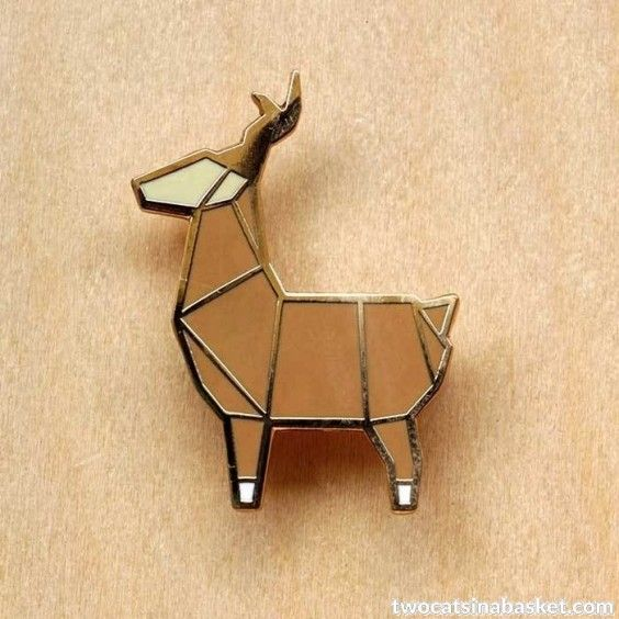 Broche Origami Deer - TWO CATS IN A BASKET