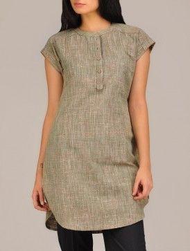 Green Khadi Short-Kurta