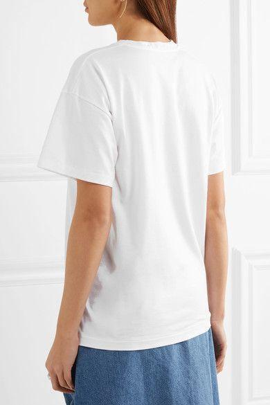 Christopher Kane - Metallic Printed Cotton-jersey T-shirt - White - x small