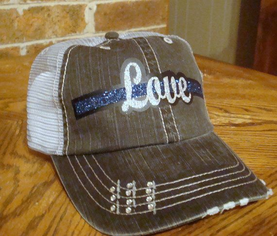 Behind the Thin blue line love police trucker by RedDirtPatch