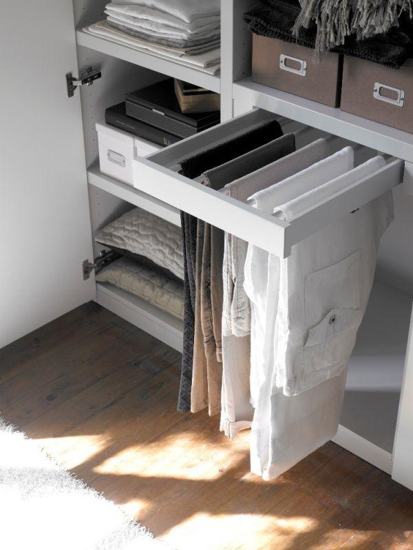 25 способов навести наконец-то порядок в шкафу Выдвижная планка для брюк