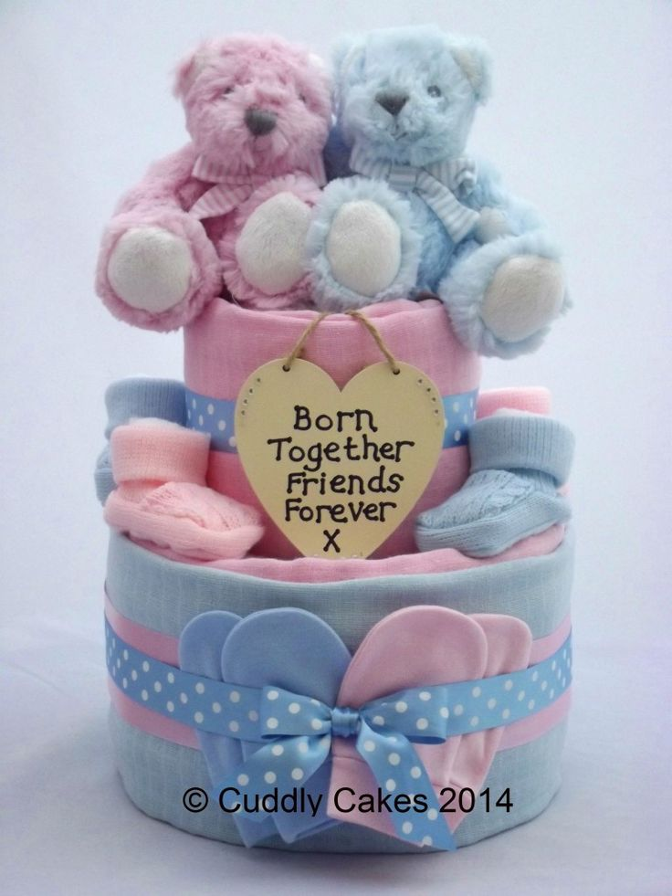 Boy/Girl Twins Two Tier Nappy Cake - Crafty Magpie Buy Here: http://www.craftymagpie.co.uk/products/novelty/boygirl-twins-two-tier-nappy-cake/#.VK6kcnvJ7h5