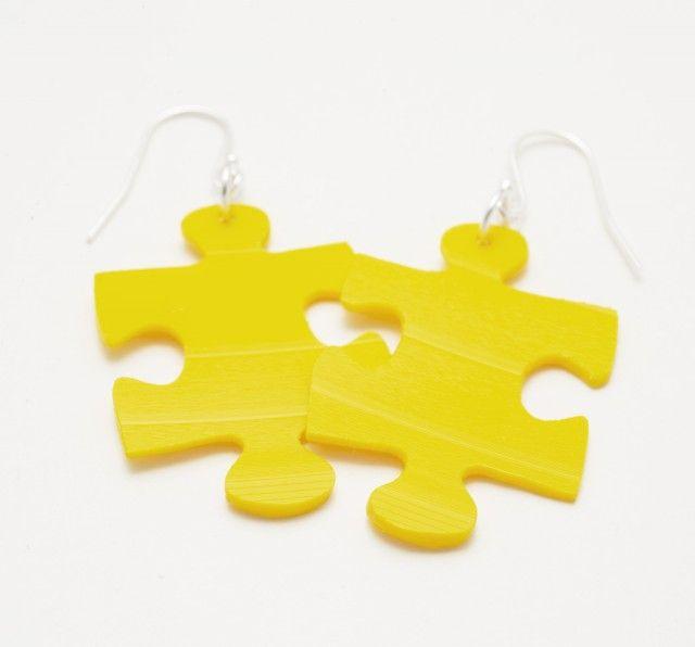 Puzzels, yellow vinyl record - Earrings #nordicdesigncollective #madebyleena #earrings #vinyl #yellow #design #jewelry #jewellery
