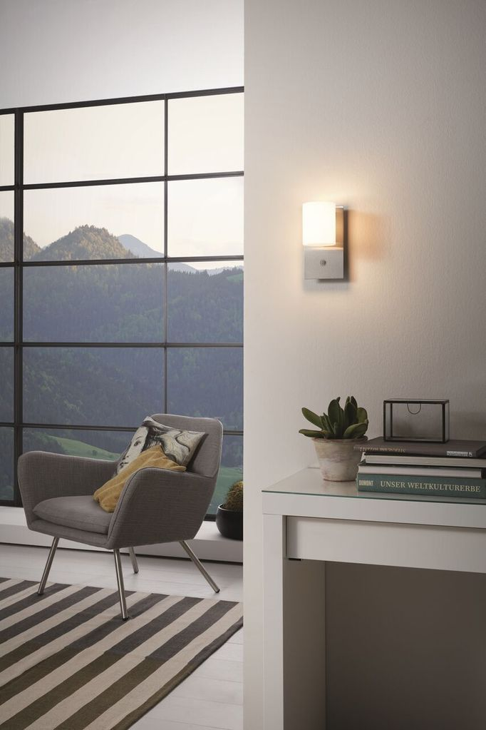 Pacao Interior Wall Light 1x5w In White Satin Nickel Or Black