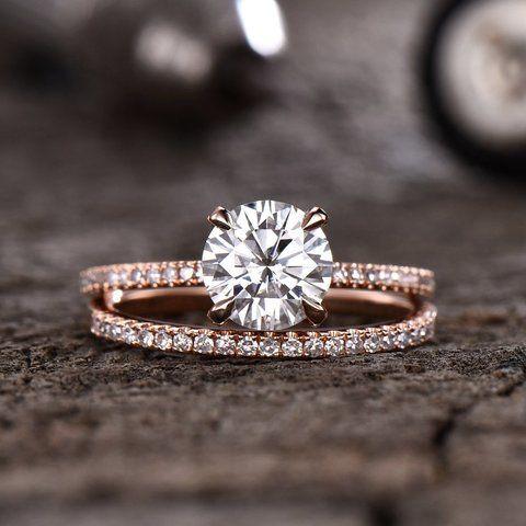 Forever One Moissanite Engagement Ring Diamond Basket Half Eternity Wedding Band Bridal Set 7mm Round Solitaire Ring 14K Rose Gold D-E-F