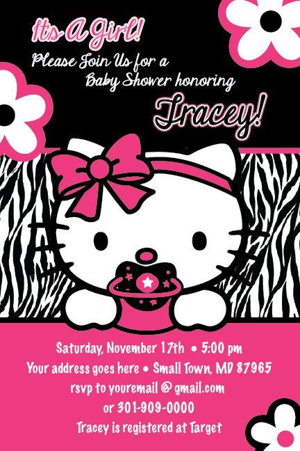 hello kitty baby shower | Hello Kitty Zebra Print Printable Baby Shower Party Invitation GIRL1ST ...