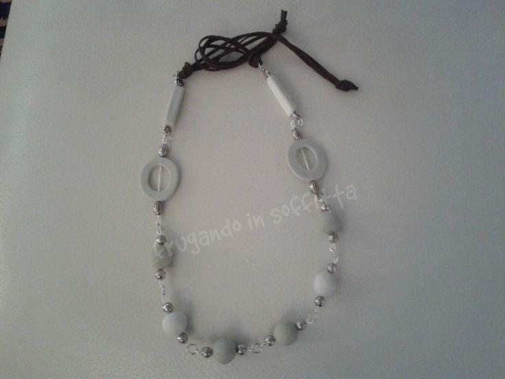 collana con perle fatte a mano in pasta modellabile gabrylea