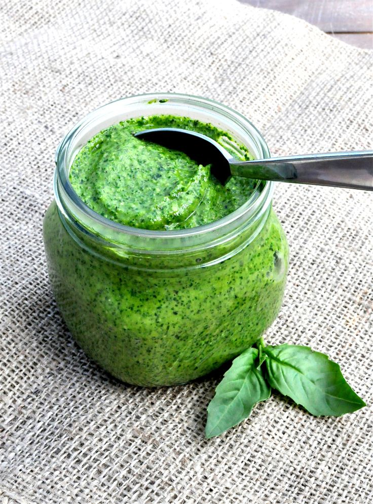 Roasted Garlic Pesto Makes ~1 cup Ingredients: 1 cup Packed Fresh Basil Leaves 1 Garlic Bulb ¼ cup Pine Nuts (can use almonds) 1 Lemon {juiced} ¼ cup EVOO {extra virgin olive oil} ¼ tsp Kosher Salt Cracked Pepper to Taste  Serve on Brown Rice Pasta.  Add tomatoes, asparagus, broccoli, salmon, chicken or whatever sounds good!