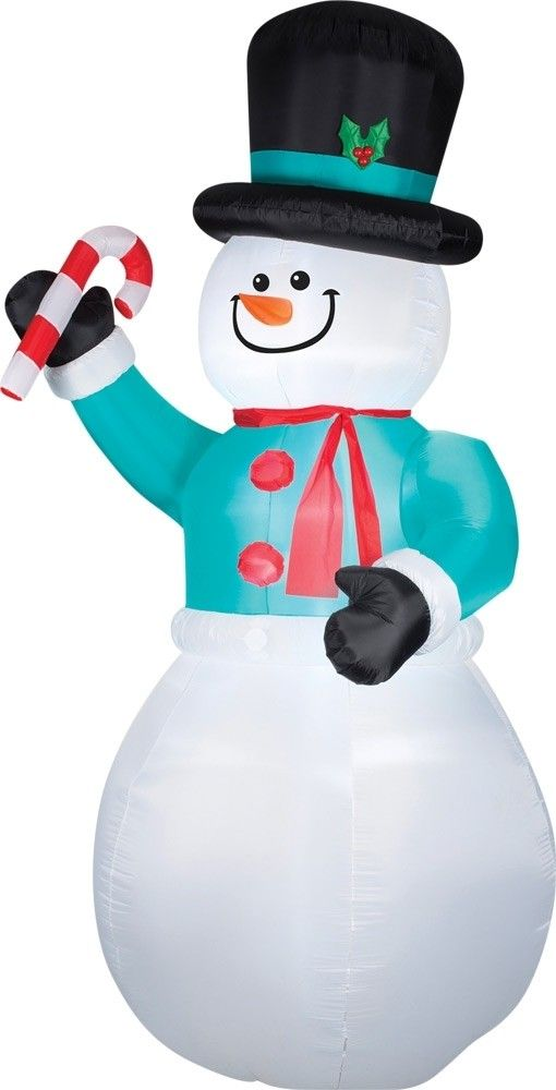 Airblown Snowman W/Candy Cane Christmas Decorations Christmas