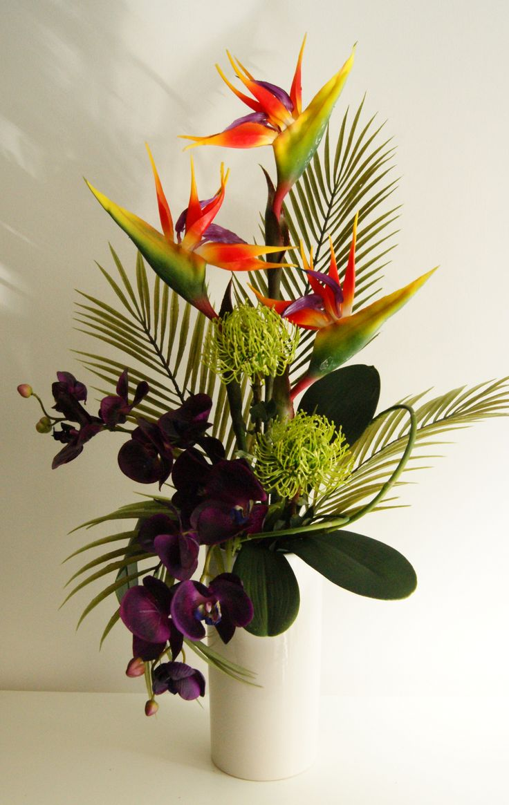 ginger and orchid arrangement | Exotic Artificial Flower Arrangement  Tropical Colours in Cream Vase
