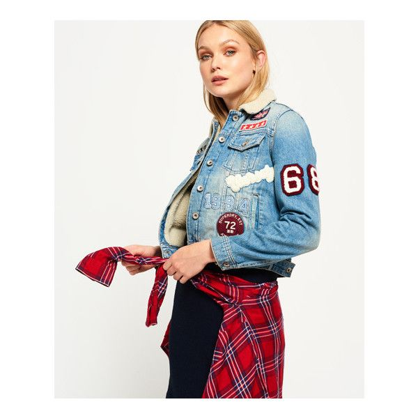 Superdry Sherpa Girlfriend Jacket (€84) ❤ liked on Polyvore featuring outerwear, jackets, blue, white denim jacket, superdry jackets, faux shearling denim jacket, white jean jacket and sherpa fleece jacket