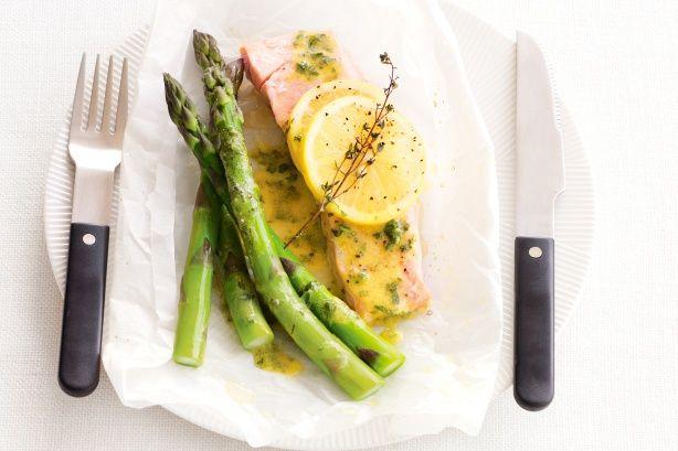 Baked Salmon With Lemon, Thyme And Asparagus Recipe - Taste.com.au