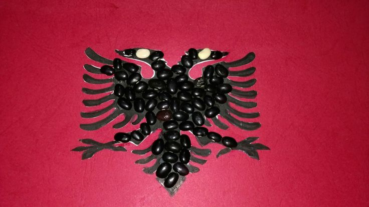 Albanian flag! Black beans, red paper, printed eagle. #Craft