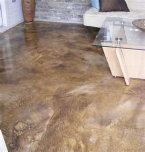 Acid wash concrete .... acid stained concrete floors are so beautiful.. they look just like marble. I want them in my bathroom! No scrubbing grout for me!