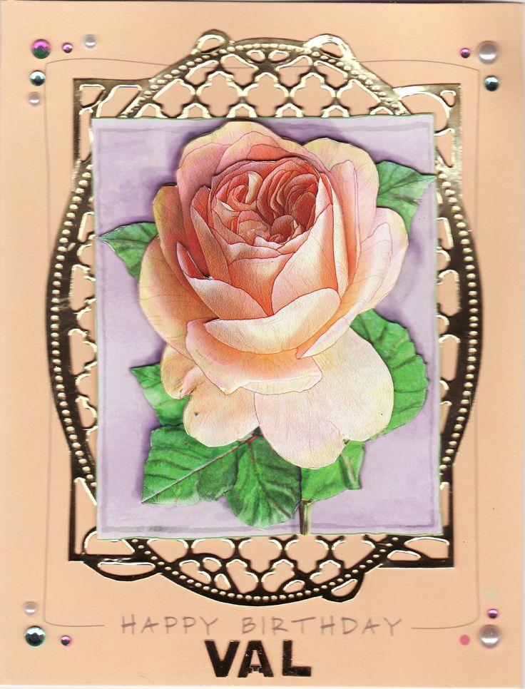 3D David Austin Rose 'Happy Birthday Val' Card (by Tassie Scrapangel)