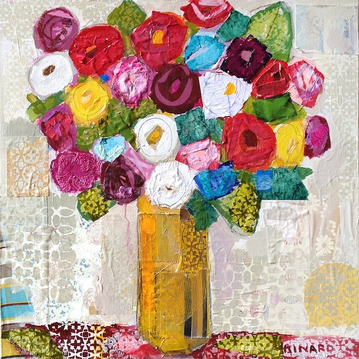 I Love You Roses by Christy Kinard (mixed media)