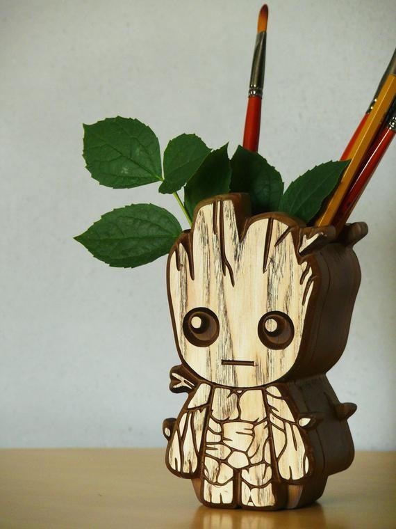 Wooden Baby Groot Pen Holder Baby Groot Holder Carved Baby Groot