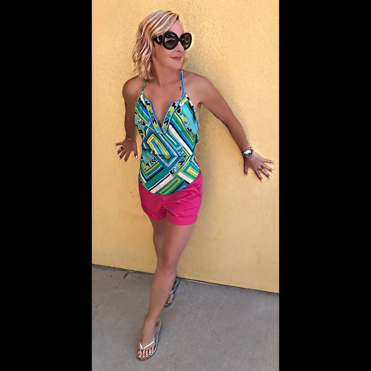 Summer Outfit of the Day  Posh Boutique  Tucson Arizona  Alice and Trixie Green Geometric Silk Top Alice + Olivia Hot Pink Shorts  Prada 'Baroque' Sunglasses
