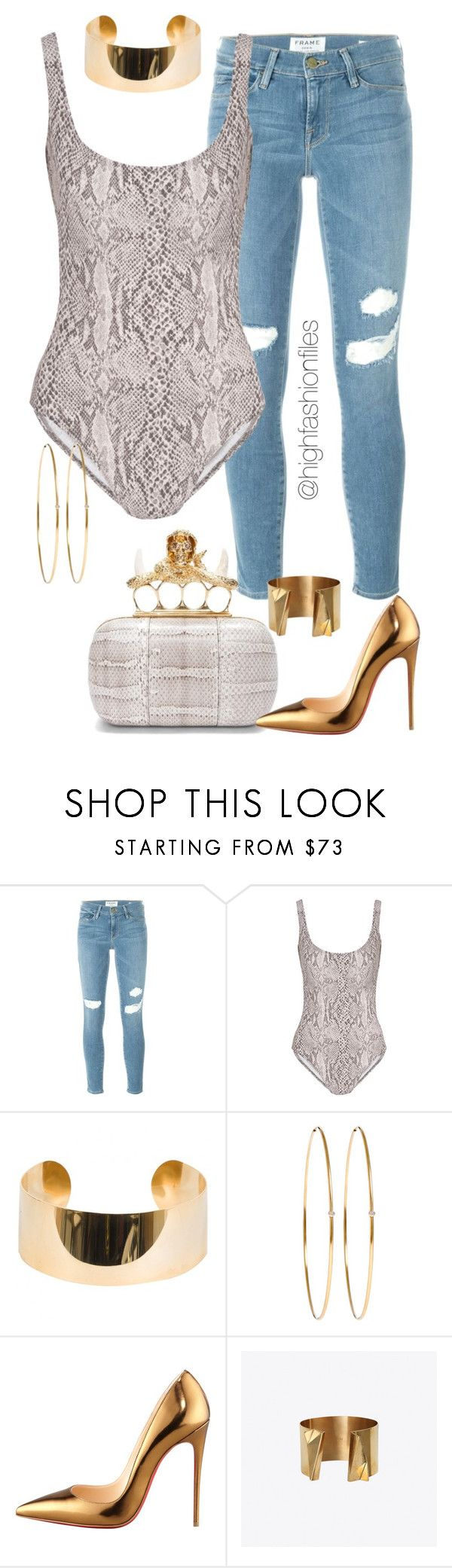 """""""Gold & Print"""" by highfashionfiles ❤ liked on Polyvore featuring Frame Denim, Norma Kamali, Alexander McQueen, Elie Saab, Jennifer Meyer Jewelry, Christian Louboutin and Angela Gomez"""
