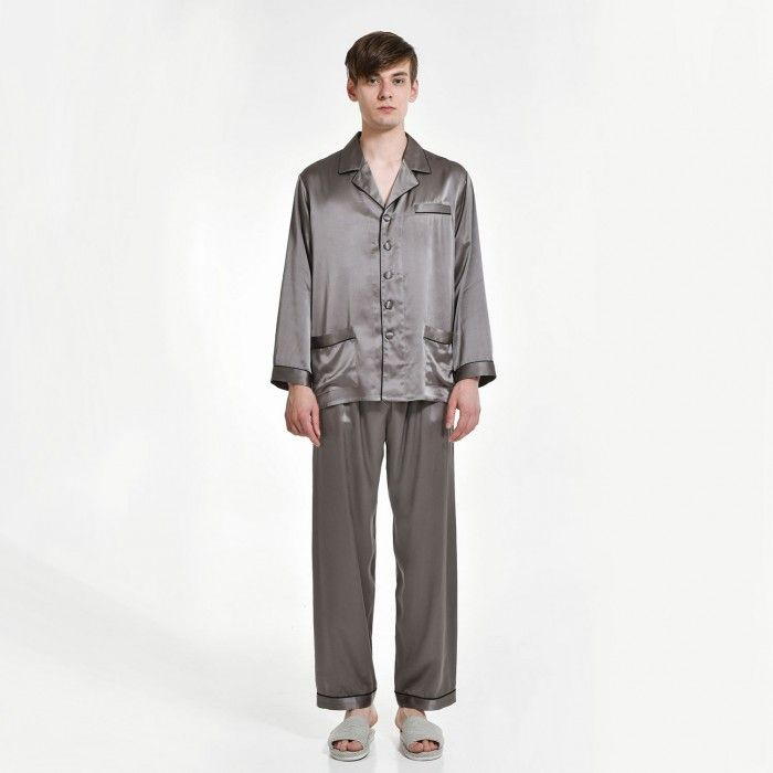Mens Pure Silk Long Pajamas Set Shirt And Pants - OOSilk #silk #sleepwear #nightwear #dressinggown #robe #bathrobe #tops #shorts #pants #trousers #bottoms #pajamas #pjs #set #silky #soft #comfort #breathable #smooth #onlineshopping #man #men #male #gentlemen #sleep #fashion #menfashion