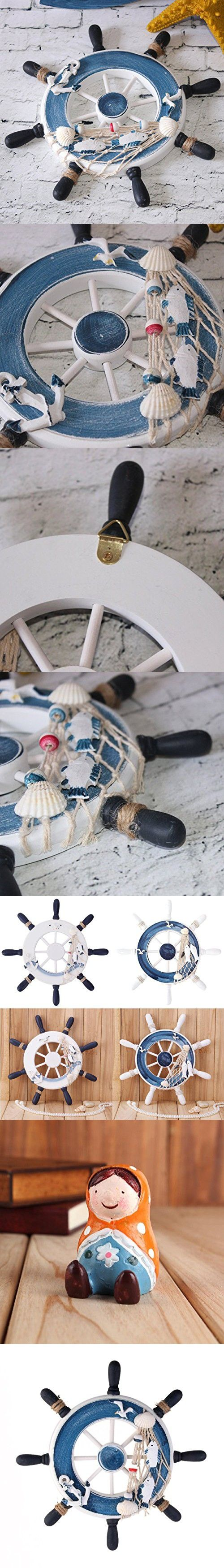 WINOMO Beach Boat Ship Steering Wheel Fishing Net Home Decoration - Blue