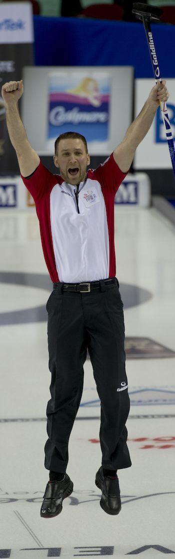 Newfoundland/Labrador skip Brad Gushue was jumping for joy after his winning shot against Alberta. (Photo, Curling Canada/Michael Burns)