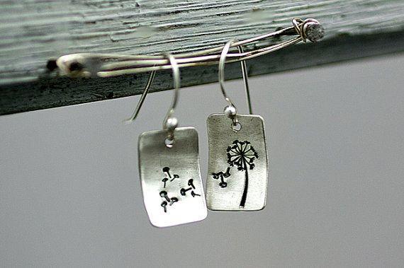 Sterling Silver Dandelion Earrings  hand by VillaSorgenfrei