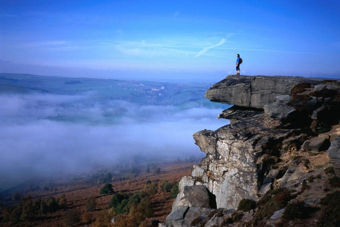 The magnificent view from Froggatt Edge in the mist, Peak District - Peak National Park, Derbyshire, England