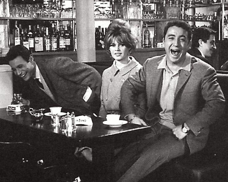 Jean-Louis Trintignant, Brigitte Bardot and Claude Brasseur at the Café de Flore in 1965