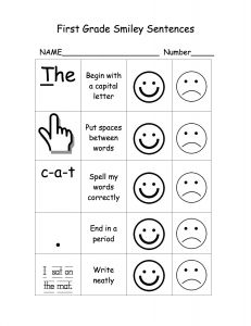 Writing Rubric for First Graders. Using this rubric, first graders learn to write a simple sentence.