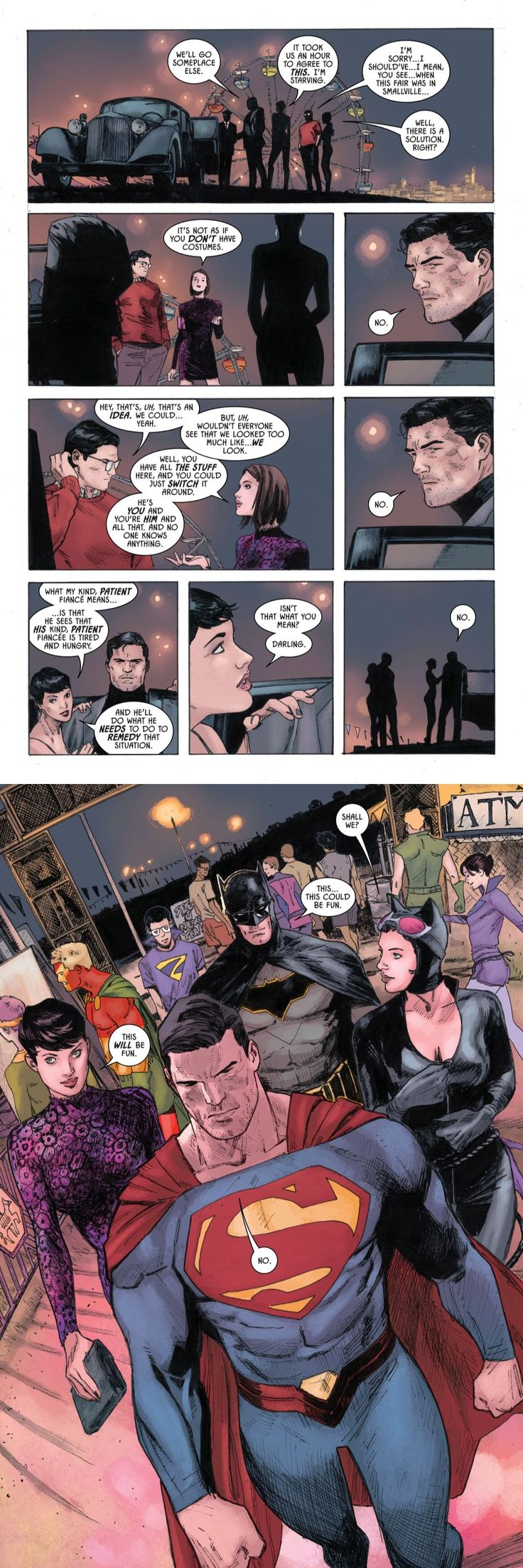Batman (2016-) #37 - 'Date Night' | I didn't know I needed Batman and Superman swapping costumes until it happened #batman #catwoman #superman #loislane #dccomics #batcat #superbat #superfriends #datenight