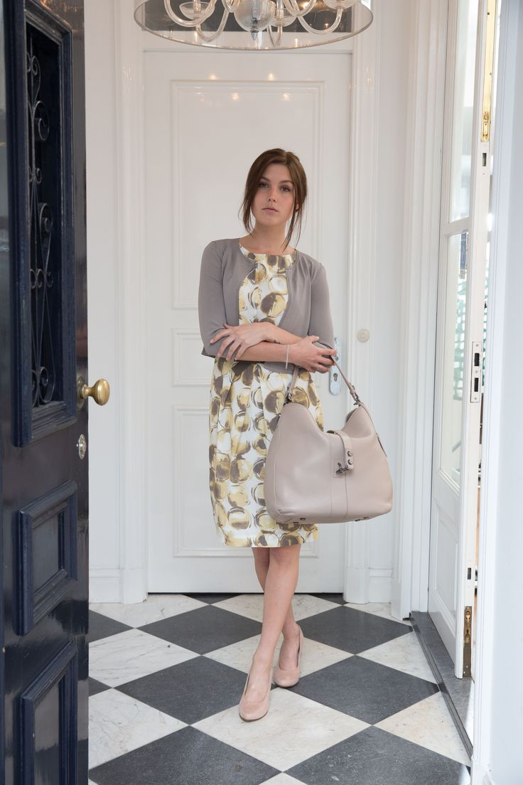 Peserico dress and cardigan, Strenesse bag