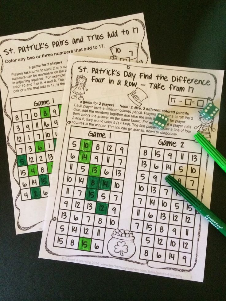 FREEBIES -  St. Patrick's Day Math Games - Just print and play! Happy St. Patrick's Day!