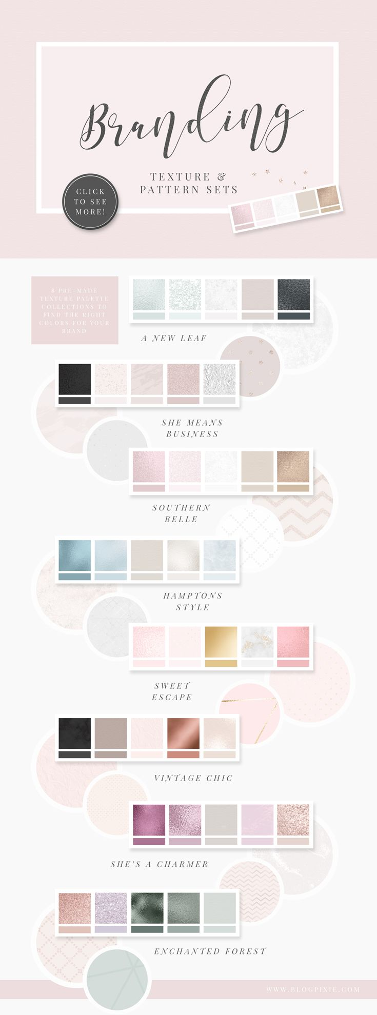 Branding texture and pattern sets. Find the perfect color palette for your brand and add texture for that extra special look.