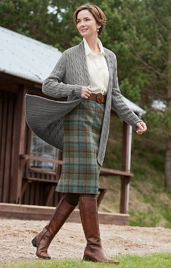House of Bruar Ladies Classic Tweed Skirt. Love it with the long cardigan.