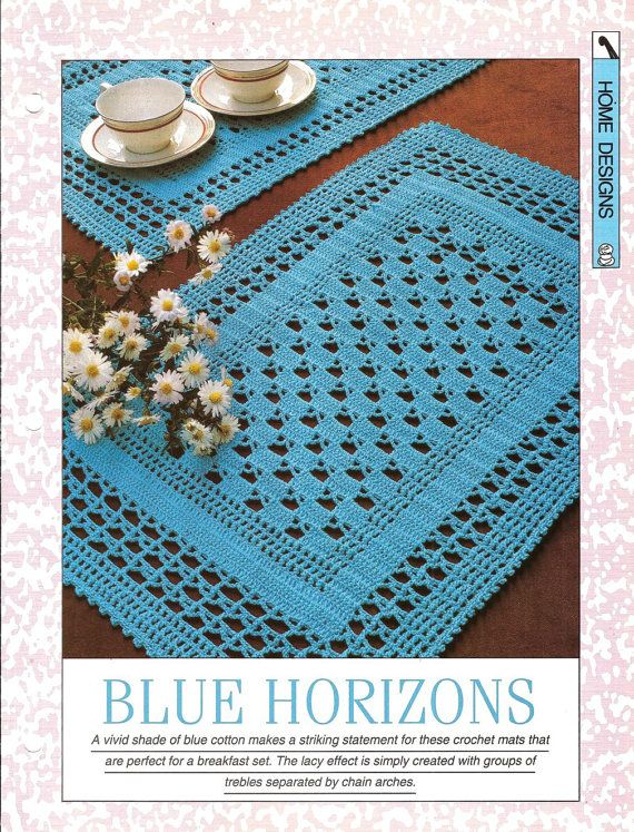 "Crochet pattern - ""Blue Horizons"" place mat tablecloth traycloth - Instant download"