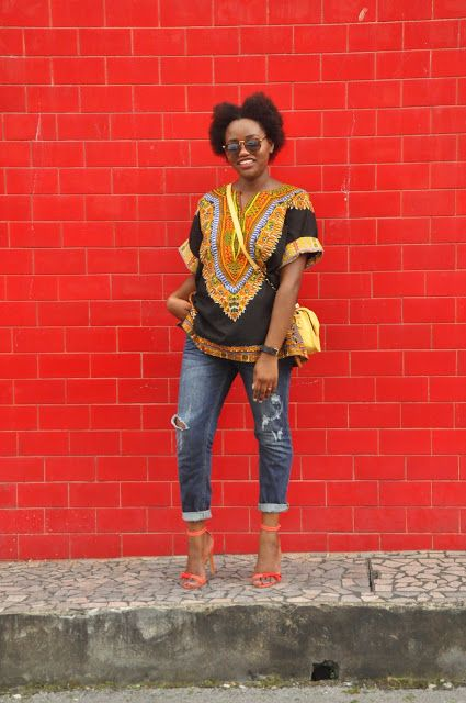 Calm, Casual and chic in this dashiki shirt paired with boyfriend jeans.
