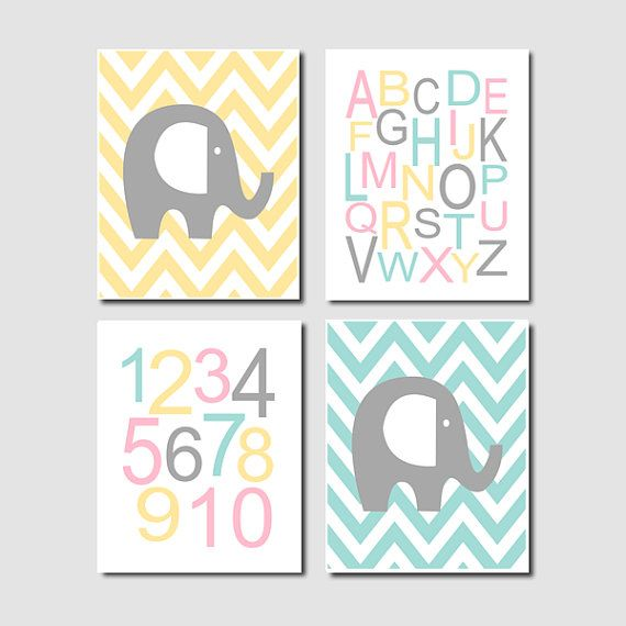 Elephant Nursery Art Chevron Alphabet Numbers by LovelyFaceDesigns