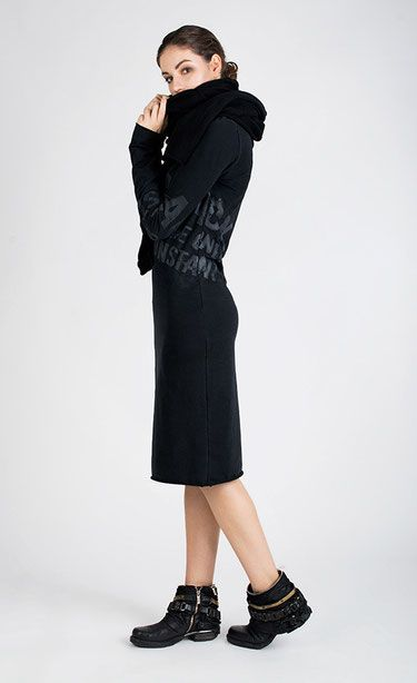 BASICCA - Black knee-length jersey dress