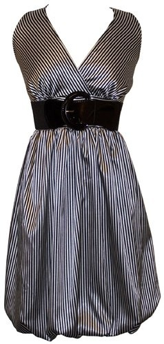 I love love LOVE this dress. I would say it's more of a Black/Champagne color and not Black/Ivory which is what I was wanting in the first place.Black And White, Pinstriping Satin, Bubbles Dresses, More Dress Sizes, Plus Size Dresses, Belts Bubbles, Black Champagne Colors, Satin Belts, Black Ivory