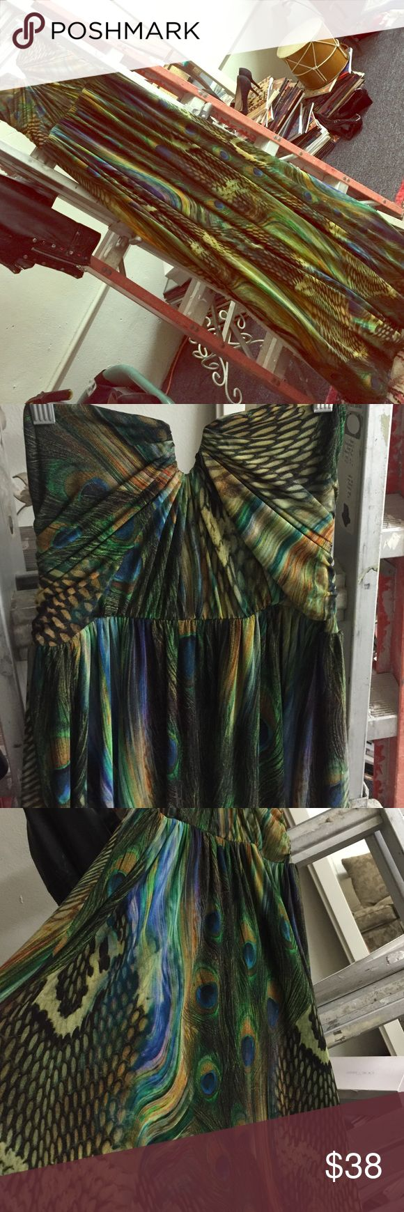 """Sheike peacock long strapless dress Sheike peacock long strapless dress with black lining not a see through 100% polyester measures about 48"""" from underneath down Sheike Dresses Maxi"""