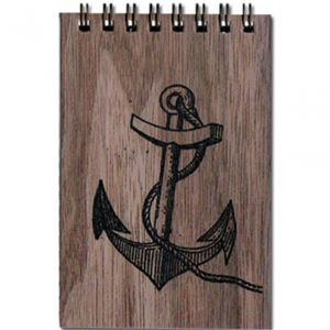 Delightful little wooden notepad with an anchor design.  Give it to your favourite sailor.