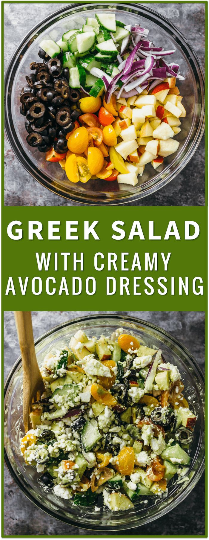 Greek salad with creamy avocado dressing, greek salad dressing recipe, traditional greek salad, greek pasta salad recipe, best greek salad recipe with chicken, easy greek salad recipe, chopped greek salad, healthy, ensalada griega greek salad, easy, authentic, pasta, cucumber via @savory_tooth