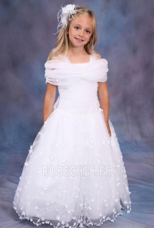 Robe Cortège Fille Eglise Zip Satin Triangle Inversé Automne Blanc