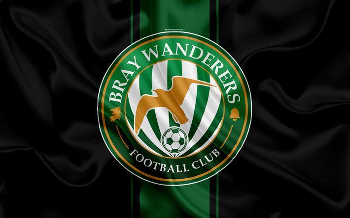 Download wallpapers Bray Wanderers FC, 4K, Irish Football Club, new logo, emblem, League of Ireland, Premier Division, football, Bray, Ireland, silk flag, Irish Football Championship