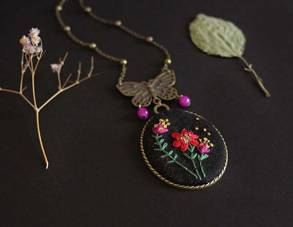 """Embroidered medallion """"Flower and butterfly"""" by MinaSmoke"""